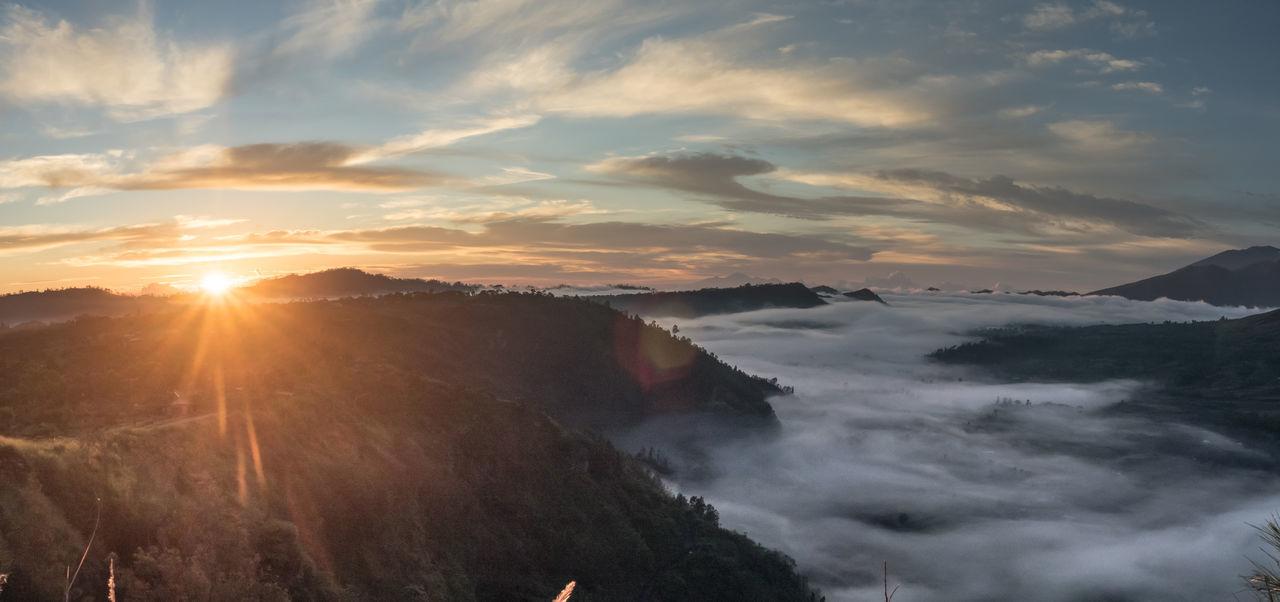 Panorama shot,Sunrise in Bali Bali Island Beauty In Nature Bukit Pinggan Majestic Misty Morning Misty Mountains  Nature The Great Outdoors - 2016 EyeEm AwardsPanorama Shot. Scenics Sunlight Sunrise Tranquil Scene Travel Destinations Original Experiences Bali Indonesia