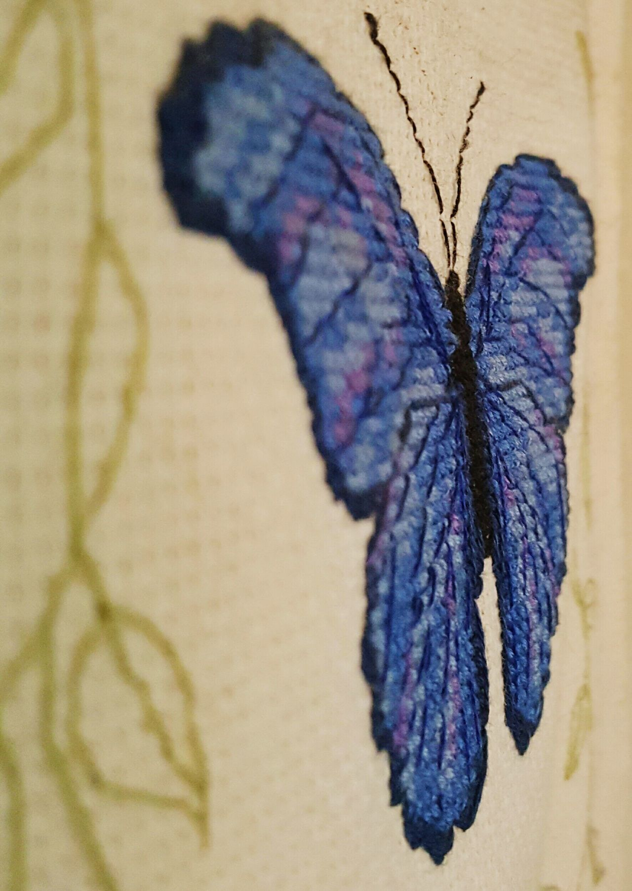 Blue hued butterfly cross-stich close-up view Butterfly - Insect Close-up Multi Colored No People Cross-stitch Macro Abstract Cross Stitch Macro_collection Textured  Textile Close Up