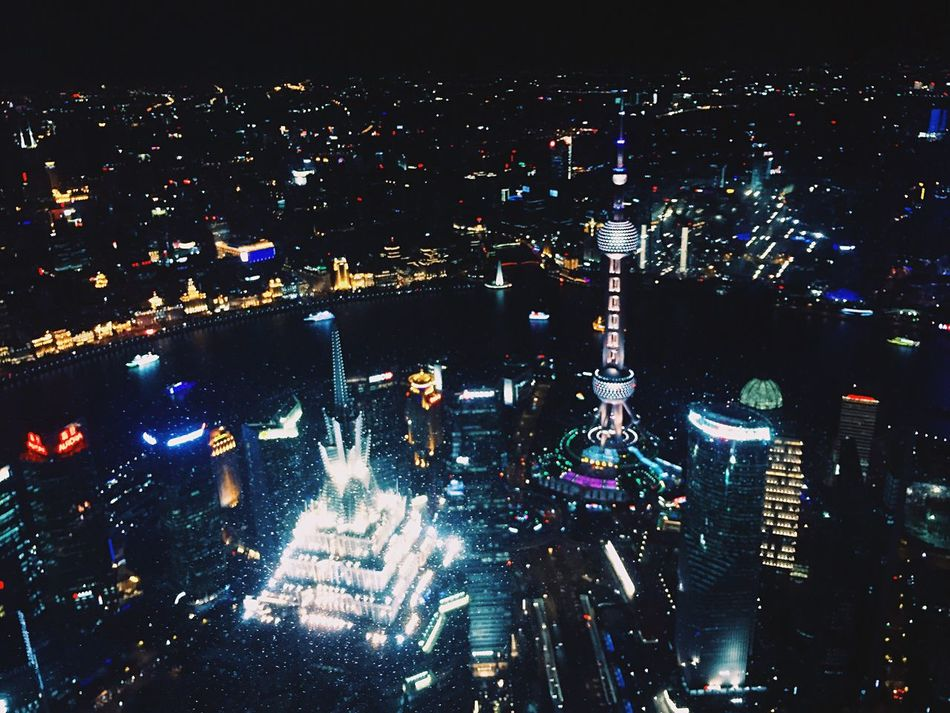 Architecture Shanghai, China Nightview Overhead View Night IPhoneography
