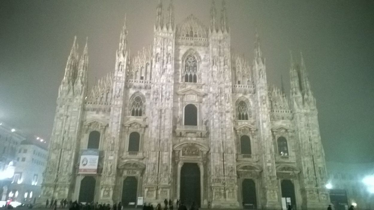 Ghostly cathedral Architectural Feature Architecture Built Structure Cathedral Church Duomo Di Milano Façade Fog Foggy City Foggy Landscape Foggy Night Foggy Weather Ghost Town Ghostly Gothic Illuminated Milano Night Lights Religion Spectral Place