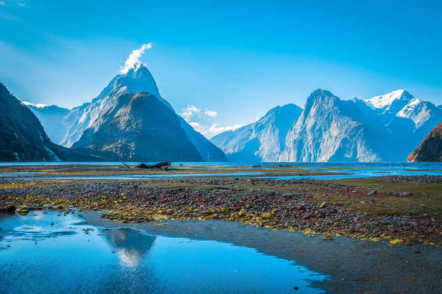 Mitre Peak at Milford Sound, Fiordland National Park, New Zealand. Beauty In Nature Blue Cold Temperature Day Fiordland Idyllic Lake Landscape Milford Sound Mitre Peak Mountain Mountain Range National Park Nature New Zealand Outdoors Reflection Scenics Sky Snow Snowcapped Mountain Tranquil Scene Tranquility Water Winter