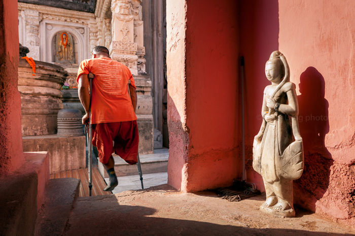 Amputation Amputee Architecture Bihar Bodhgaya Buddha Buddhist Color Composition Documentary India Leg Light Man Monk  One Leg Person Pink Standing Statue Street Photography Walking Telling Stories Differently One Person Handicap