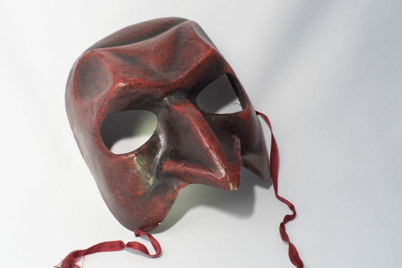 Comedia de'll arte: Pantalone mask Carneval Carnevale Di Venezia Close-up Comedia Del Arte High Angle View Indoors  Mask Mean No People Pantalone Single Object Stinginess Studio Shot White Background