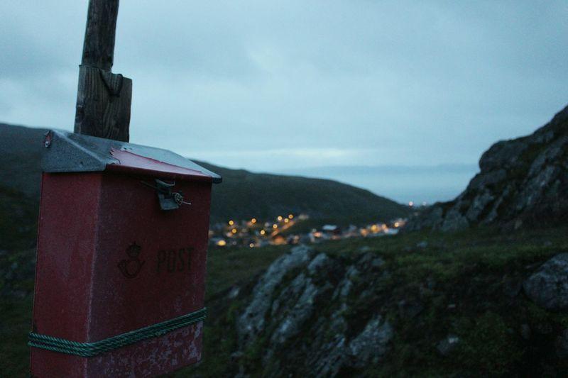 the postbox. Honningsvag PrestvatnetNorway Post Hiking Hills Rocks Nature Summernight Oceanview Cityview