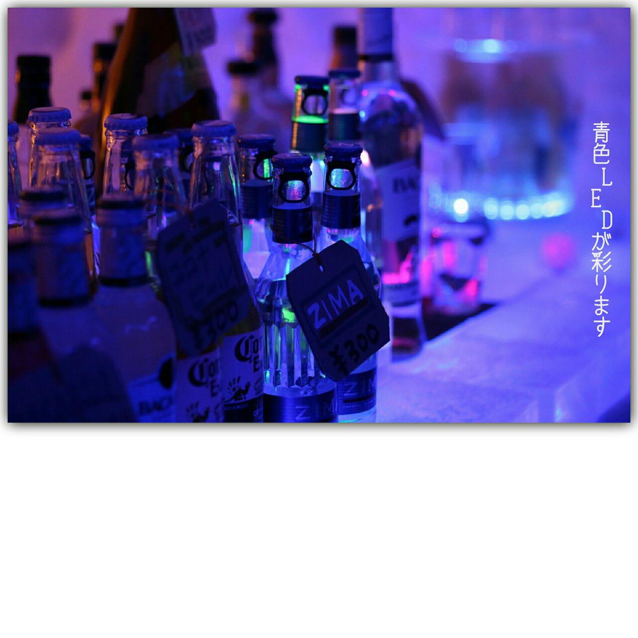 Ice Bar Snowfestival Bottles Alcohol Bottles Blue Led Lamp Light And Shadow Lighting 月山志津温泉雪旅籠の灯り