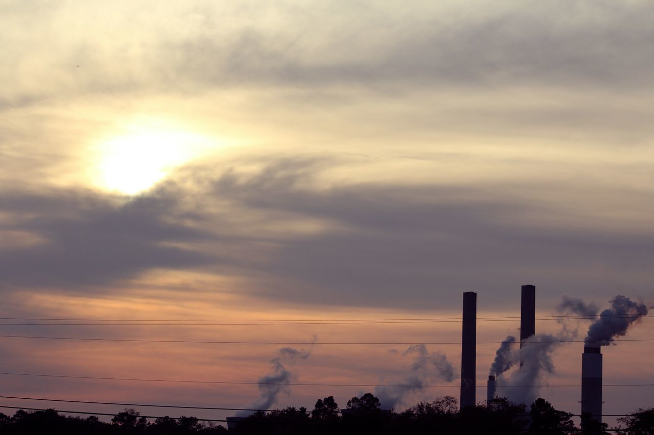 smoke stack, industry, pollution, factory, emitting, air pollution, smoke - physical structure, sunset, chimney, fumes, environment, sky, built structure, tall, outdoors, no people, architecture, day