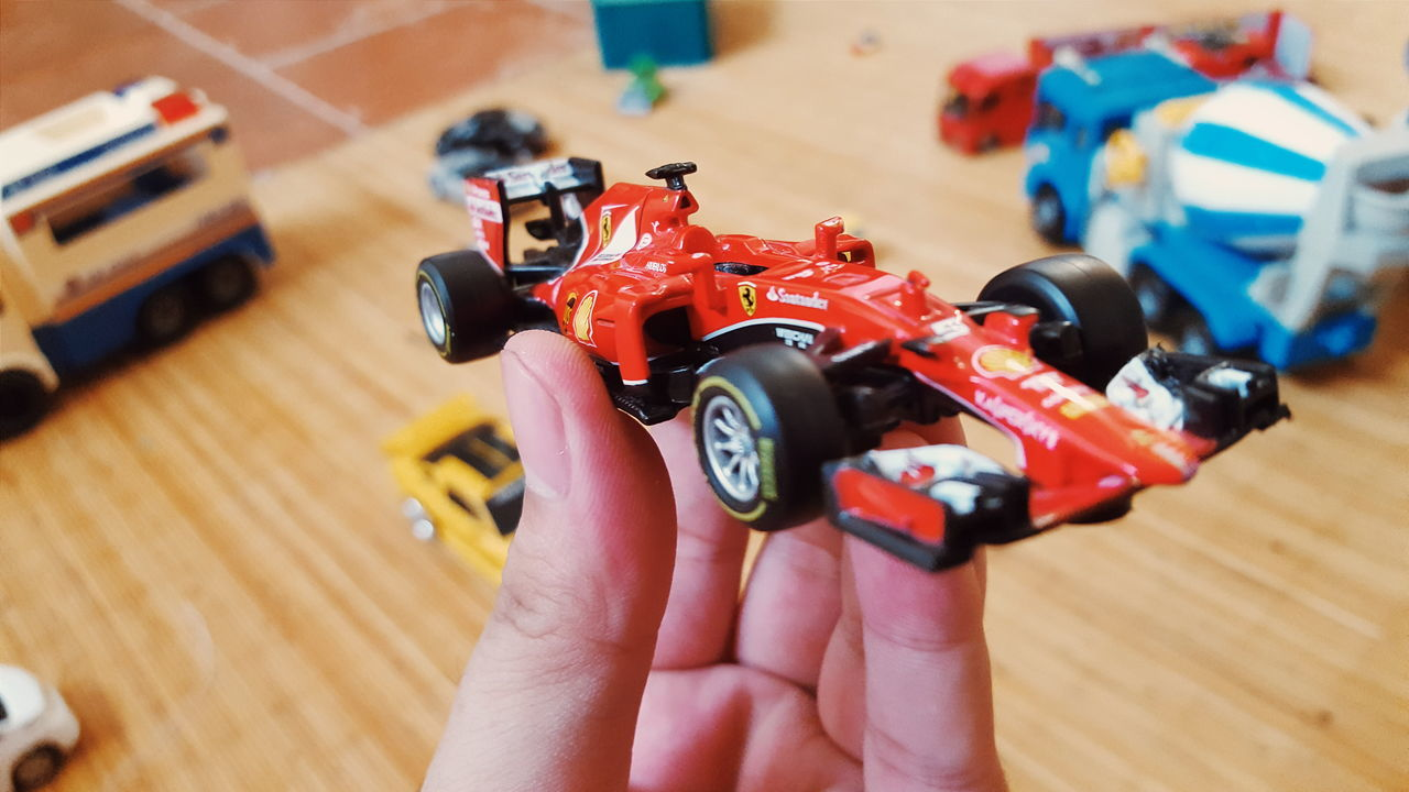 Diecast Car Miniature Miniature HotWheels Wheel Kids Toys Kids Toys Background Blur Foreground Focus Race Car Formula One Formula1Hand Formula Car Formula 1 Car Red Showcase July