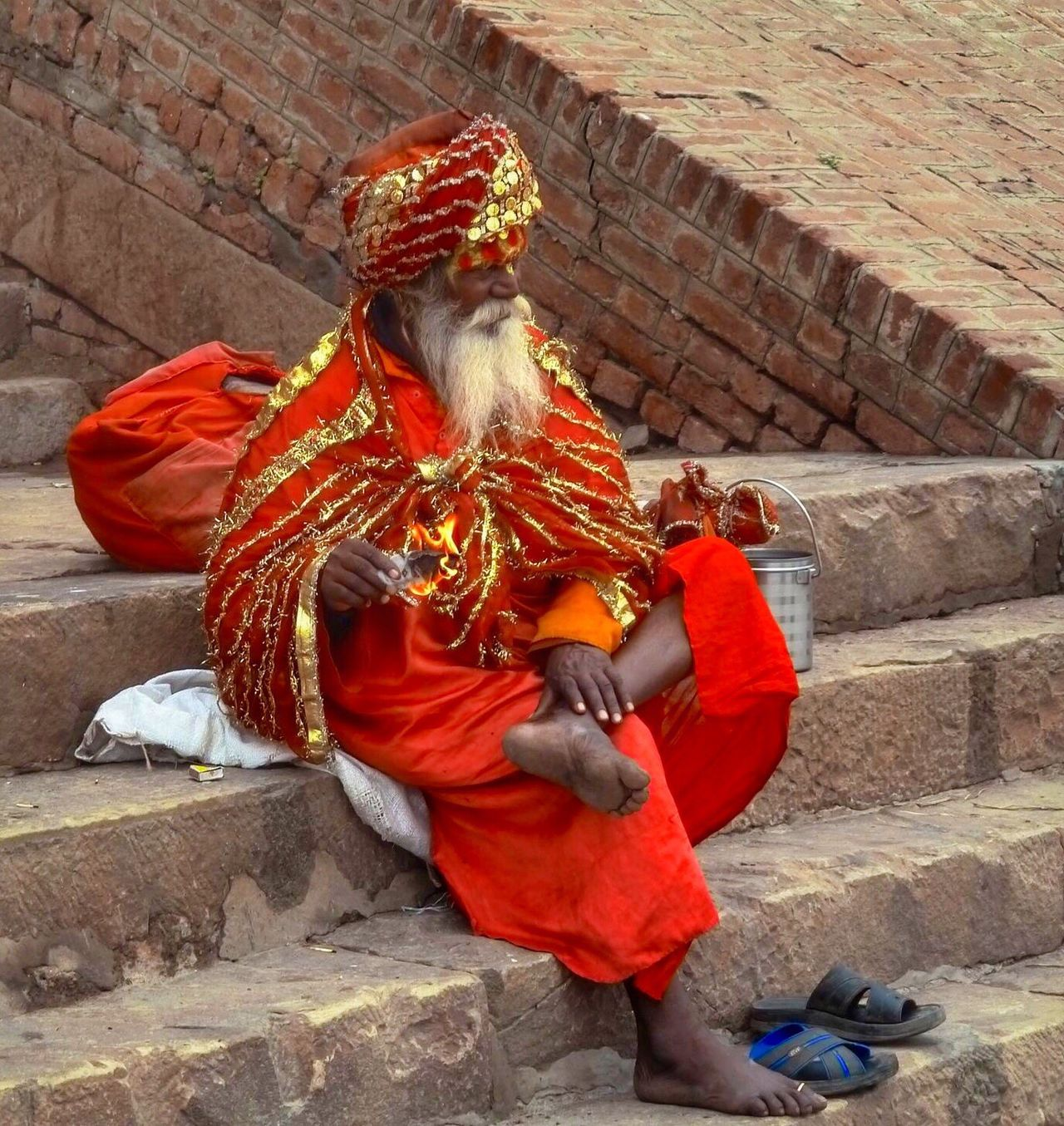 Chance Encounters Red Outdoors City Traditional Clothing Adults Only One Man Only One Person Adult India Varanasi, India Ganges, Indian Lifestyle And Culture, Bathing In The Ganges, Varanasi Travel Photography Adapted To The City