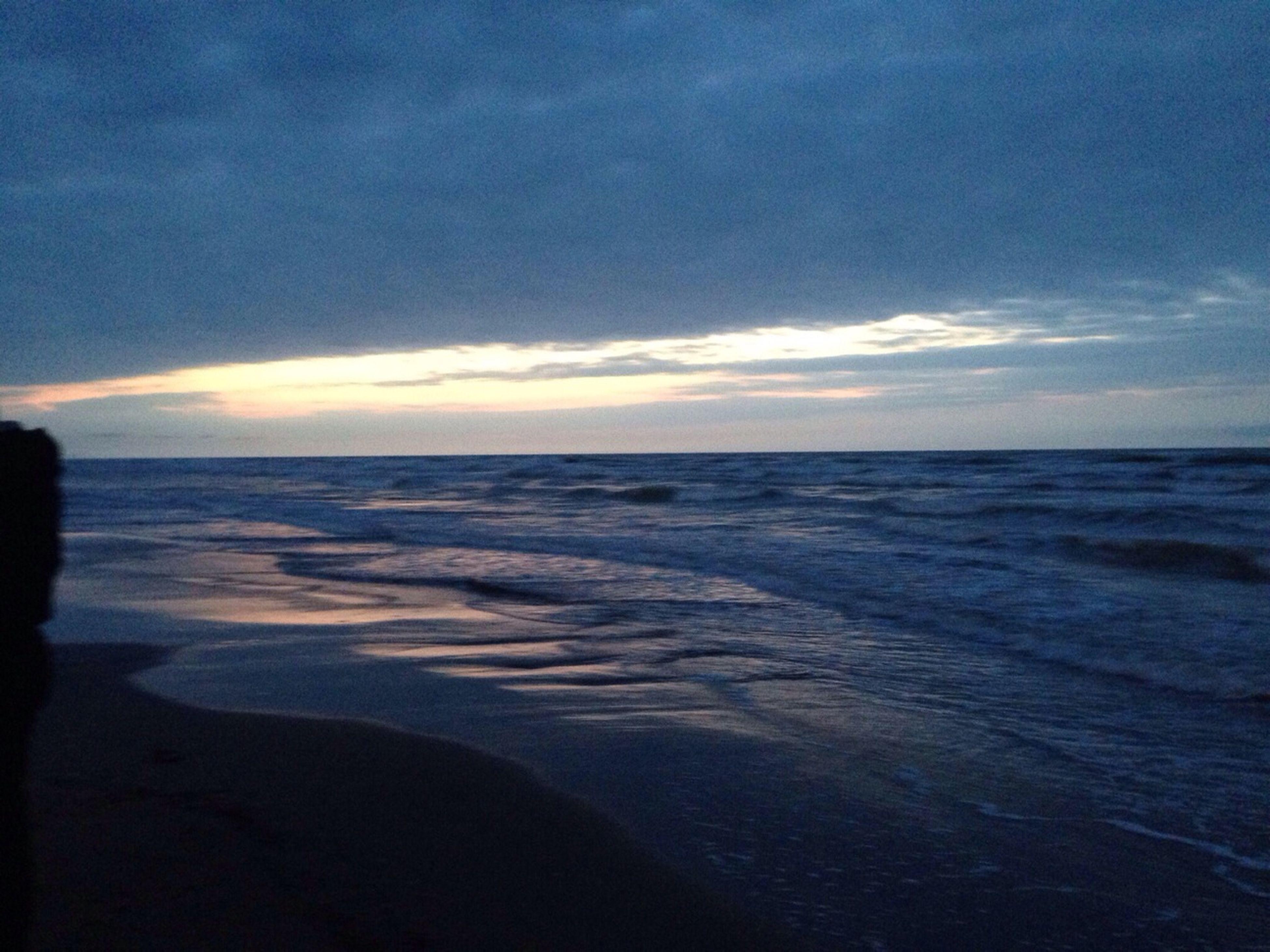 sea, horizon over water, beach, water, scenics, sky, tranquil scene, beauty in nature, tranquility, shore, wave, nature, sand, cloud - sky, sunset, idyllic, cloud, seascape, surf, coastline
