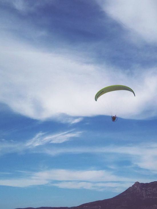 Flying Mid-air Extreme Sports Paragliding Air Vehicle RISK Sky Wind Gliding Parachute Smartphonephotography Exhilaration Danger Stunt Person Outdoor Pursuit Jumping Multi Colored Headwear Adventure People Aerobatics Smartphone Photography The Great Outdoors - 2017 EyeEm Awards
