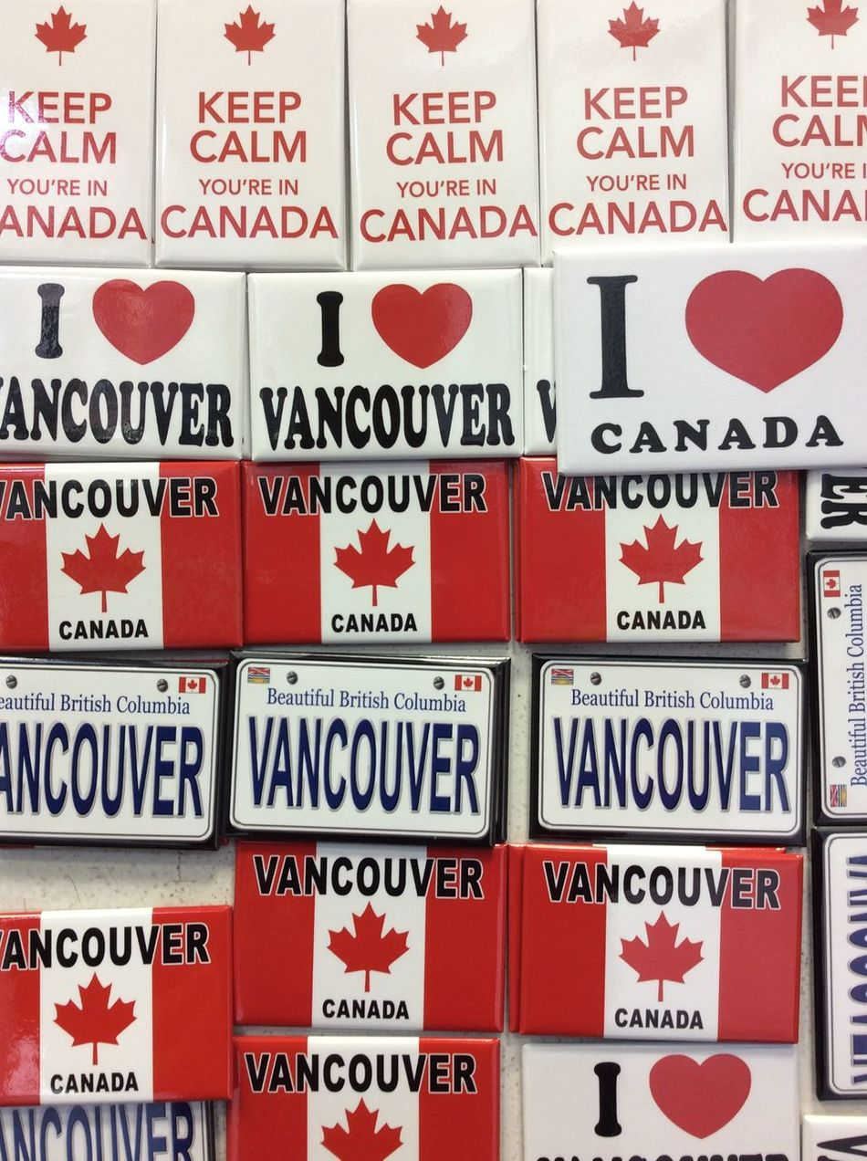 Vancouver Canada Fridge Magnets Tourist Shop Autumn Morning October