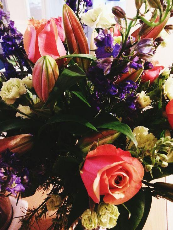 Stargazerlilies Beautiful Gift❤ Surprise! At Work White Flower Peach Roses Purple Flower Stunning