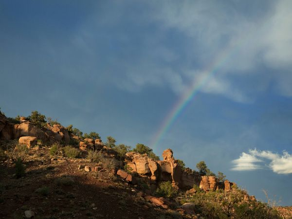 Desert rainbow Sky Nature Beauty In Nature No People Day Rainbow Sky Rainbow Utah Desert Landscape Desert Beauty Deserted Scapes Stormy Weather After The Storm Raining Rainbows Travel Fine Art Landscapes