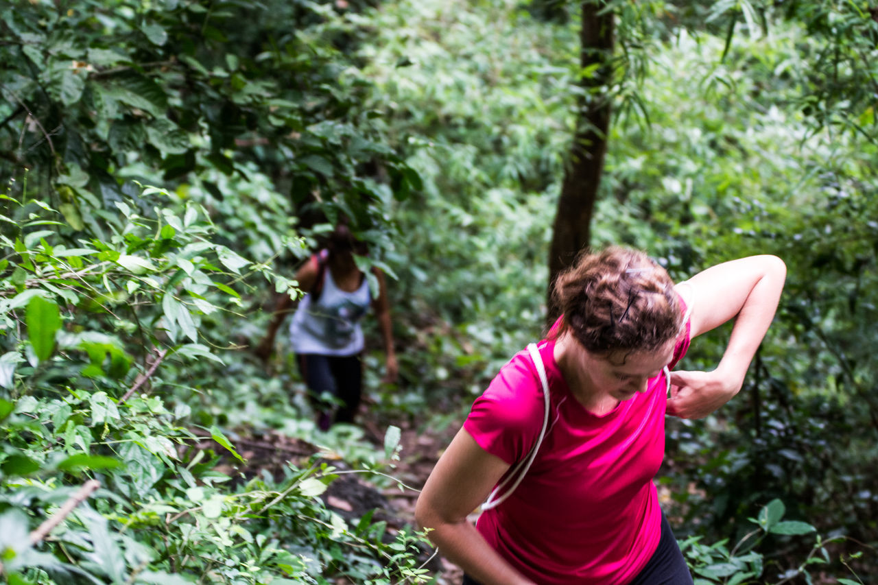 Casual Clothing Climbing Day Focus On Foreground Freshness Getting Fit Getting In Shape Girls Green Color Hiking Hikingadventures Jungle Leisure Activity Lifestyles Nature Outdoors Person Steep Hill Thailand Trees View From Above Women