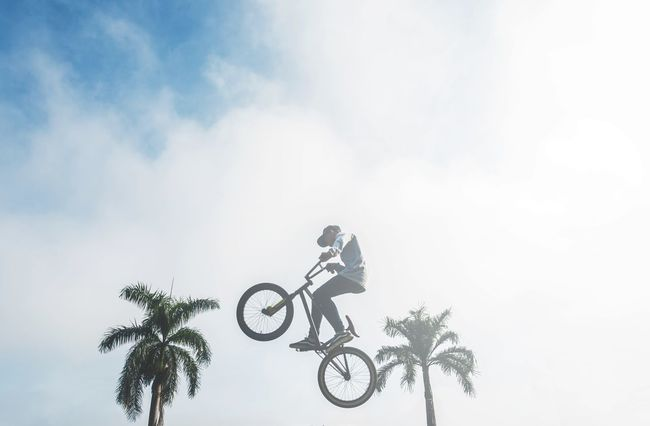 Fly high Outdoors Sky Biker Day Bicycle Riding People And Places EyeEm Best Shots Enjoyment