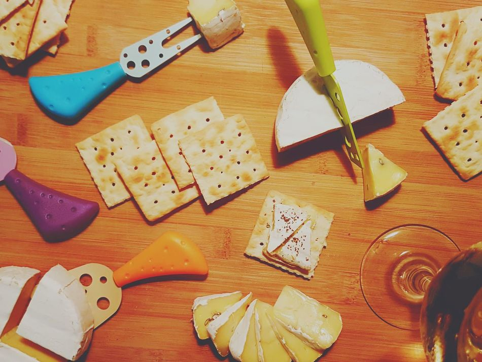 Cute knives for every cheese-y situation. Cheeselovers Wineandcheese Nightcap Wood - Material Indoors  High Angle View No People Table Variation Cutting Board Close-up First Eyeem Photo