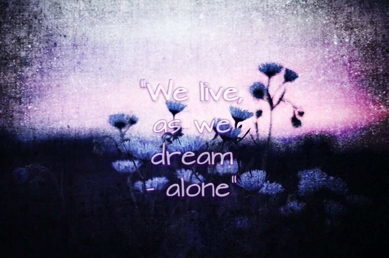 We Live As We Dream- Alone