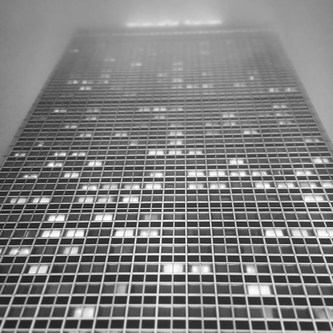 Black And White Skyline Winter High Rise Big City Foggy Night Berlin