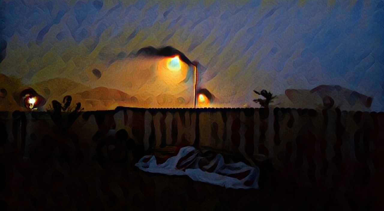 Nighttime Beauty Dark Surrealist Art Mysterious Surreal Noirphoto Sky Multi Colored Vangoghish Vangogh Inspired Outdoors Illuminated Night Atmospheric Mood Landscape Foggyweather Fences & Beyond