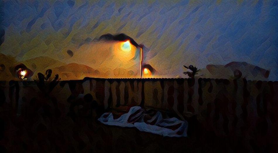 Nighttime Beauty Dark Surrealist Art Mysterious Surreal Noirphoto Sky Multi Colored Vangoghish Vangogh Inspired Outdoors Illuminated Night Atmospheric Mood Landscape Foggyweather Fences & Beyond