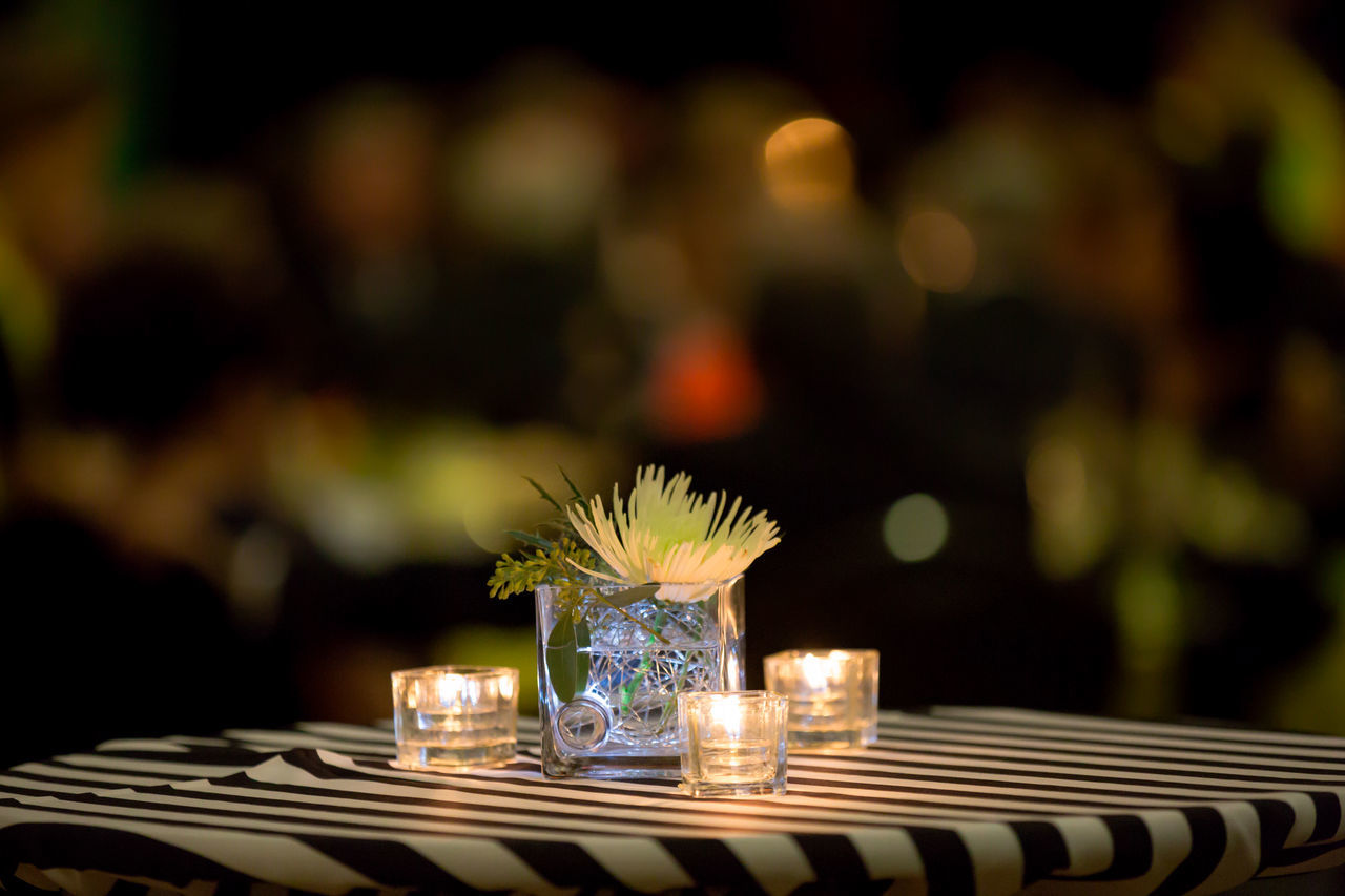 Bokeh Candle Candlelight Close-up Decor Decoration Drink Focal Point Food Freshness Indoors  Night No People Plate Still Life Vase