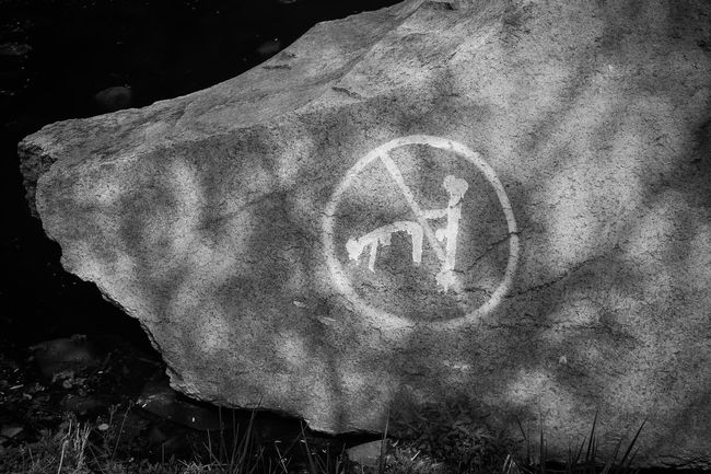 What do you think it means Black Graffiti Monochrome No People Outdoors Pornic  Rock Symbol