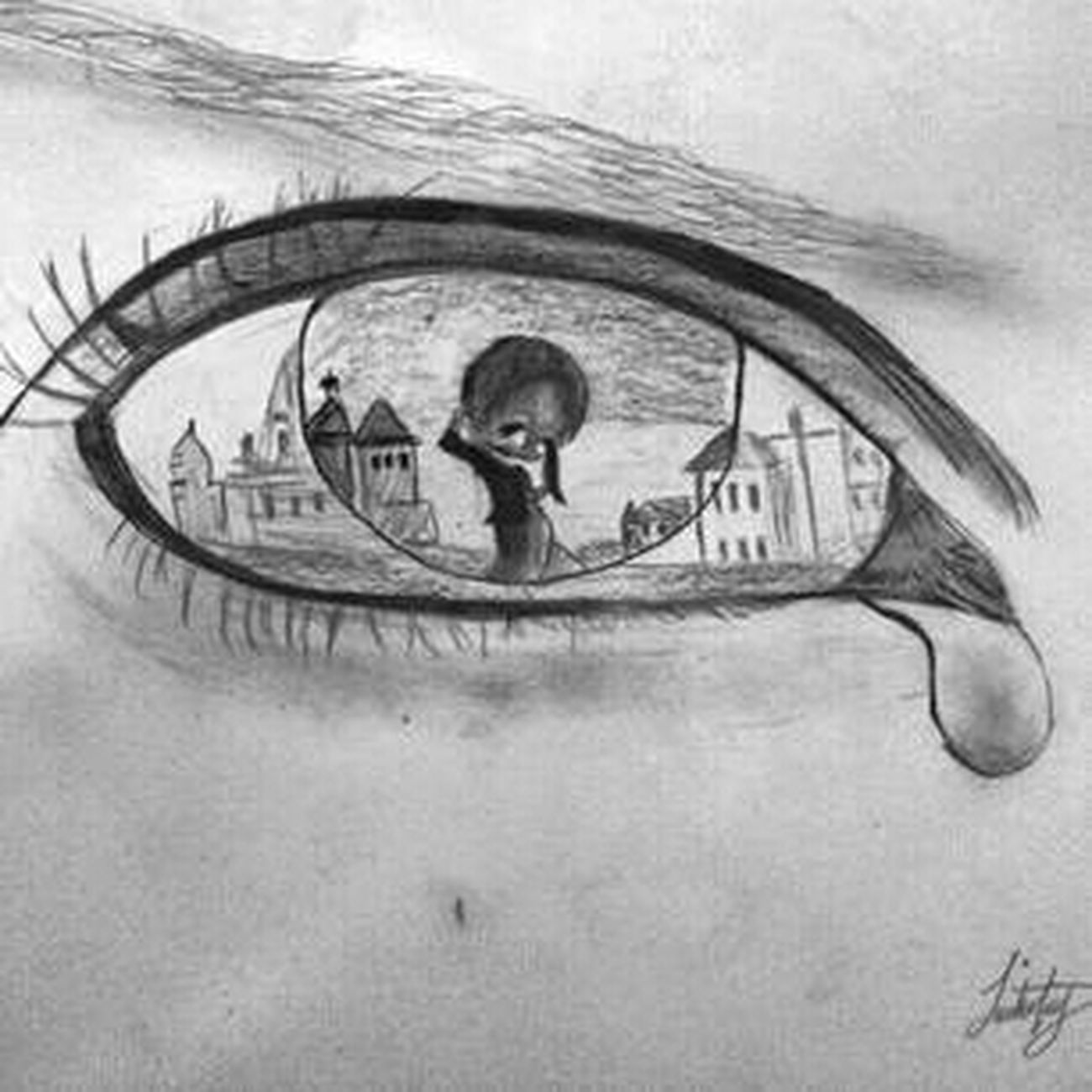 lonely nights. Redrawn. Eye Drawing In My Mind's Eye Blackandwhite