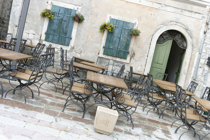 Architecture Bar Blue Built Structure Cafe Chairs Coffee Day Drink Dubrovnik, Croatia Eat Empty Exterior Lunch No People Outdoors Pots Of Flowers Rustic Shutters Street Terrace Summer Tables Town Urban Windows