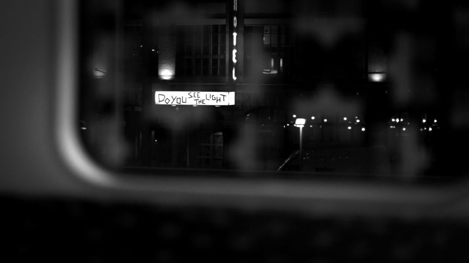 Do you see the light? Blackandwhite Doyouseethelight Illuminated Night No People Sign Street Text Train Welcome To Black