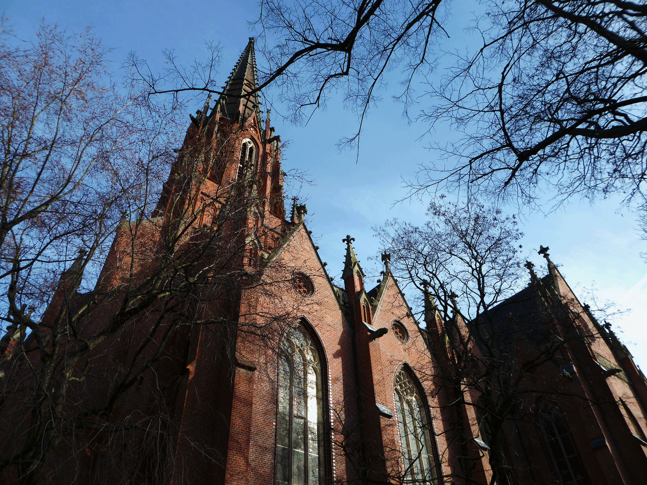 Architecture Bare Tree Built Structure Christuskirche Hannover Favorite Churches In My Town Blue Sky