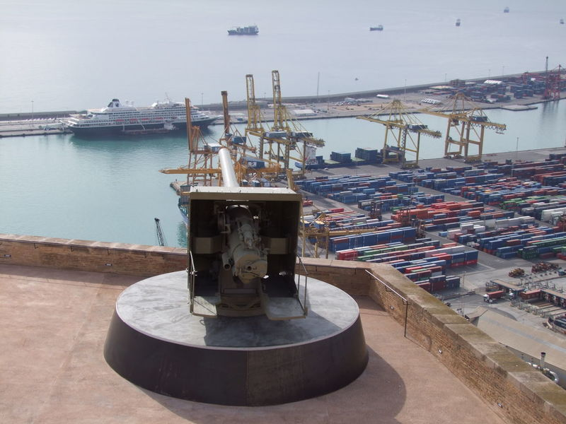 Gun Emplacement on Monjuic Castle & Cruise Liner Port Business Finance And Industry Castle Composition Containers Cranes Cruise Liner Full Frame Gun Emplacement Harbour High Angle View Industry Monjuic Nautical Vessel No People Outdoor Photography Port Reflection In The Water Sea Ship SPAIN Sunlight And Shadow Water
