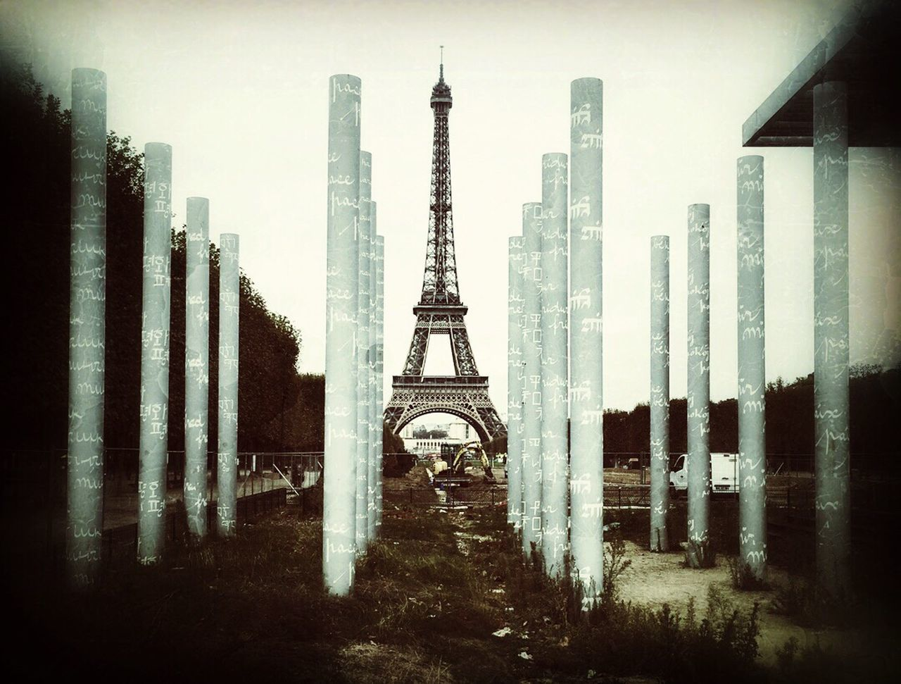 The Peace Pillars at the Champs de Mars. Architecture Tower City Tall - High Travel Destinations Cityscape Tourism No People Urban Skyline Outdoors Built Structure Day
