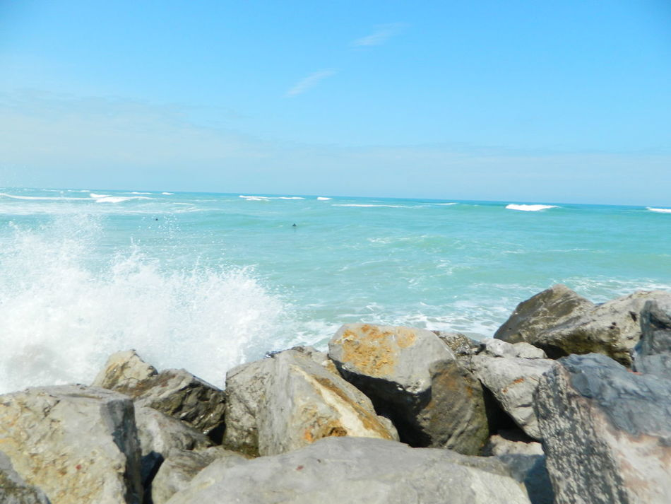 Sea Wave Beach Blue Rock - Object Outdoors Water Power In Nature No People Sky Beauty In Nature Nature Motion Day Mexico Ocean❤ Tampico Asthetic