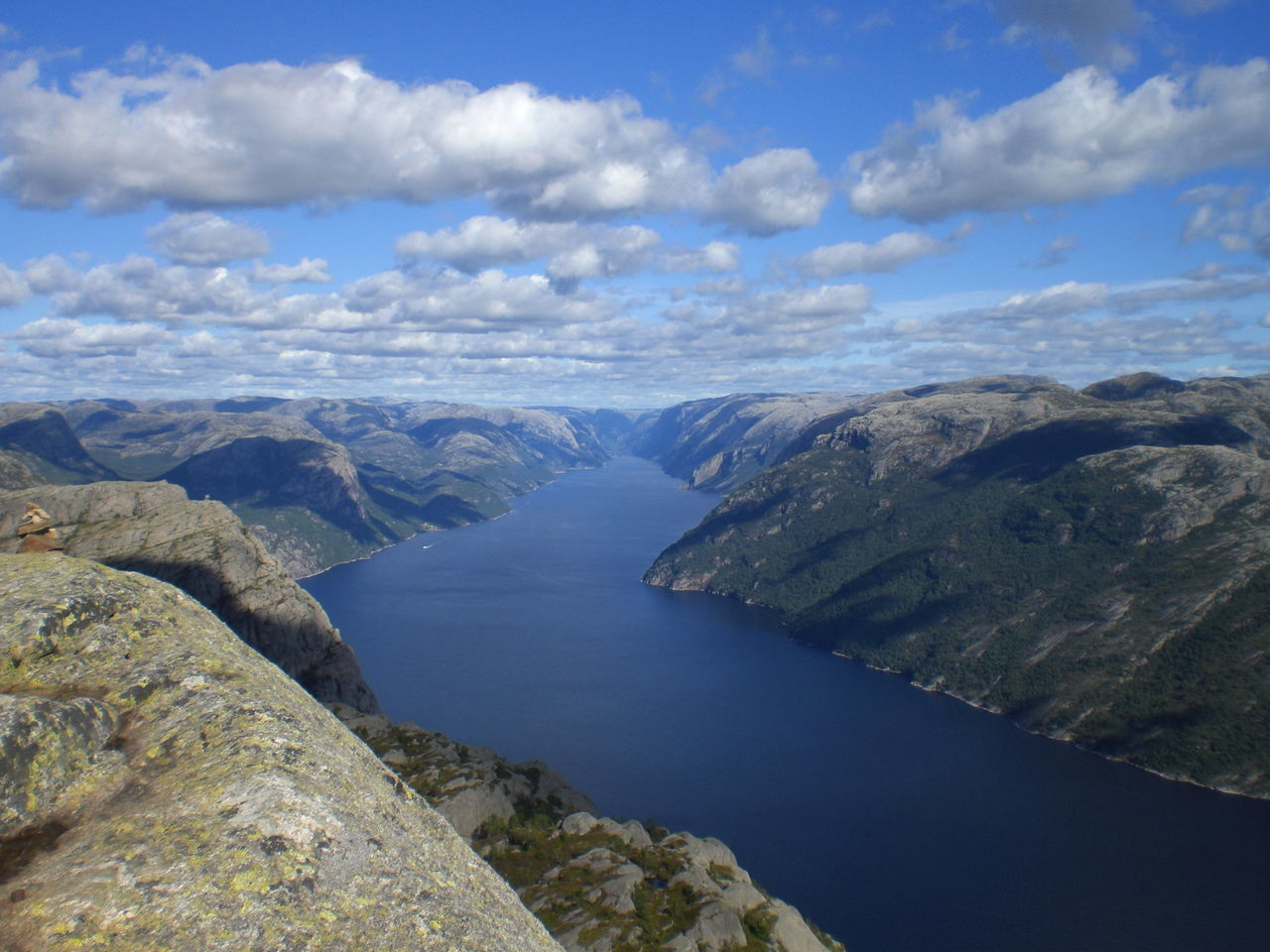 Lysefjord from Preikestolen Beauty In Nature Cloud - Sky Coastline Day Europe Fjord Holidays Horizon Over Water Landscape Landscape_Collection Lysefjord Mountains Nature No People Norway Outdoors Preikestolen Scenics Sea Sky Traveling Water