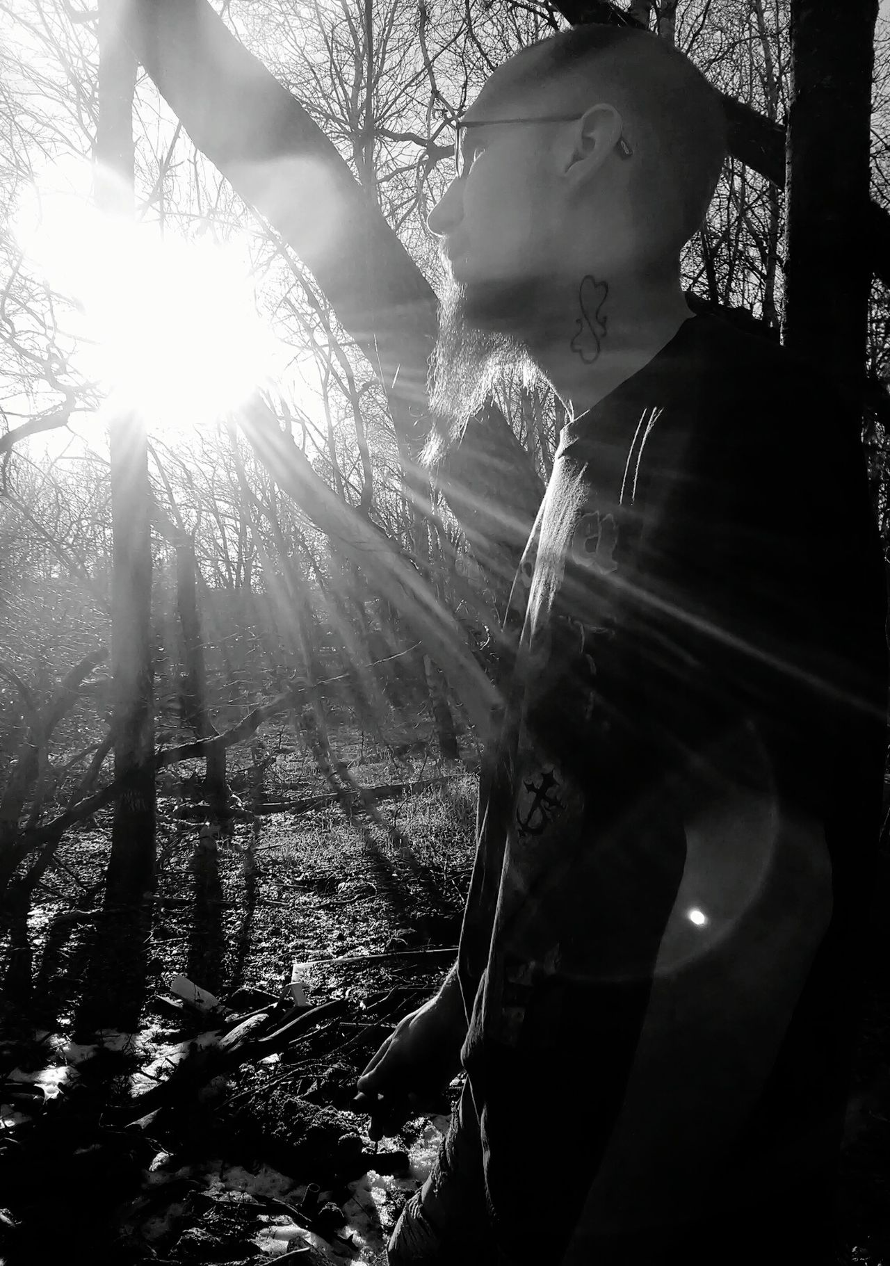 One Man Only Sun Burst Sunbeam My Point Of View Michigan Up North Nature Photography Michigan Outdoors My Husband ❤ 2017 My Photography. ❤ Real People, Real Lives Thinking Of How Things Used To Be Middle Of Nowhere Beauty In Nature Sunlight Black And White Collection  Nature_collection Low Angle View Tree Outdoors Wilderness Area Lens Flare Check This Out! Rock - Object Branch