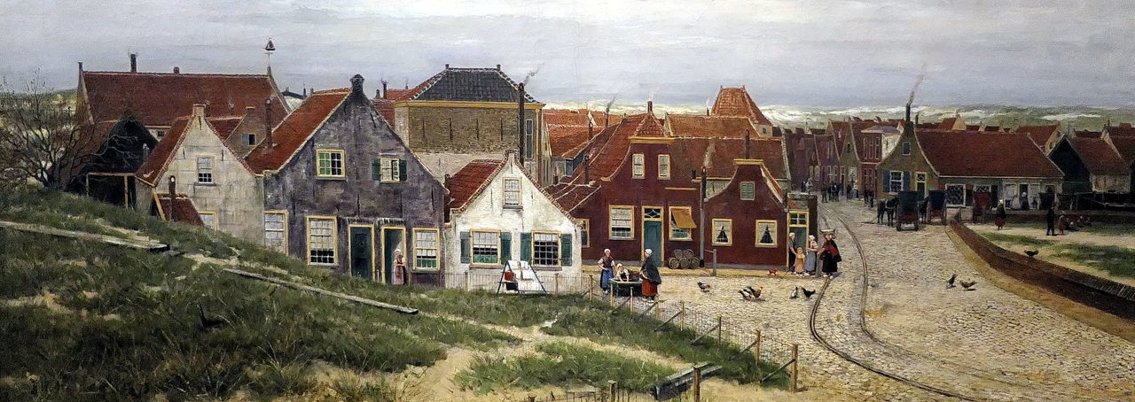view on Scheveningen 1880 by Mesdag 1880 ACDSee Art Building Exterior Carriages  Chicken Day Dunes Fishermenvillage Grass Historical House Mesdag Museum Outdoors Painting Panoramic People Rail Scheveningen  Sky Street Village Village Life Village View