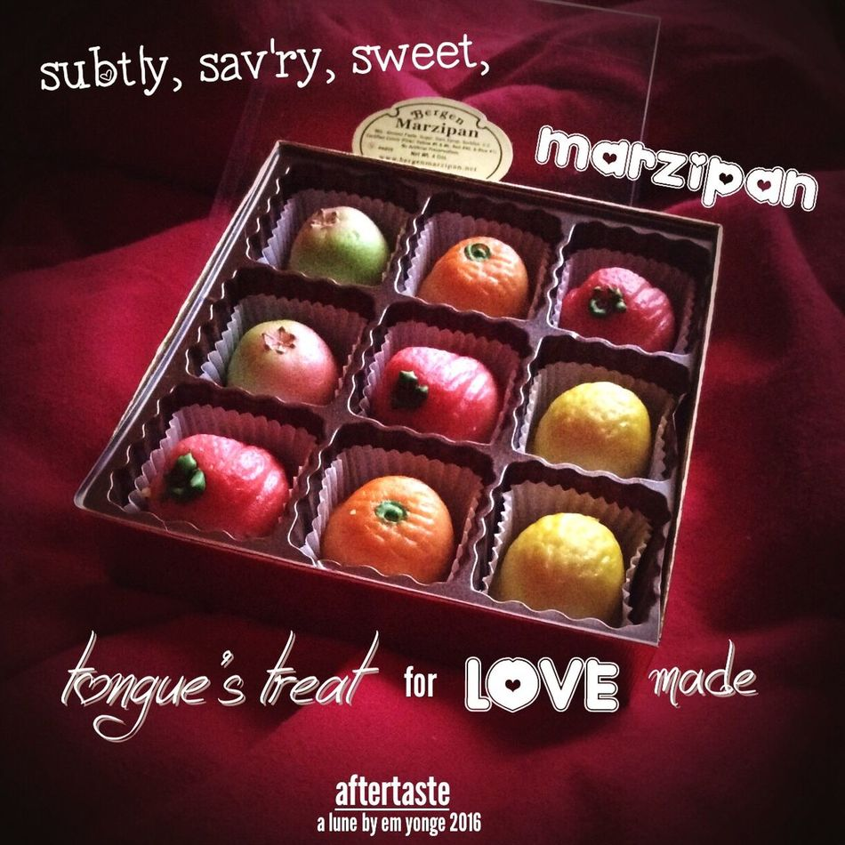 365 Grateful Project entry 302: Fav_Friday A lune poem to my love of marzipan, another of my favorite things. NaPoWriMo Lune Pho-em Pho-etry Visual Poetry Photopoem Photopoetry Poem Poetry Marzipan Sweet Treat Foodphotography Candy Love♥ Favoritethings