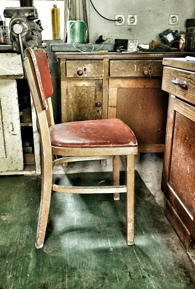 A red one Chair Red Chair Furnitures Old Old Chair Old Furniture Workshop Workhouse History Stories To Tell No People Retro Styled Design Craft Handmade