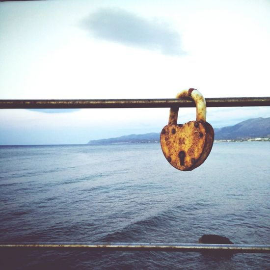 Locked Love Locked Up Heart Rust Rusty Heart Ocean View Coastline Padlock Lost The Key Taking Photos