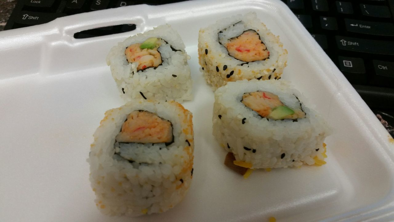food and drink, sushi, healthy eating, food, freshness, ready-to-eat, japanese food, rice - food staple, seafood, serving size, plate, indoors, chopsticks, no people, slice, healthy lifestyle, meal, close-up, day