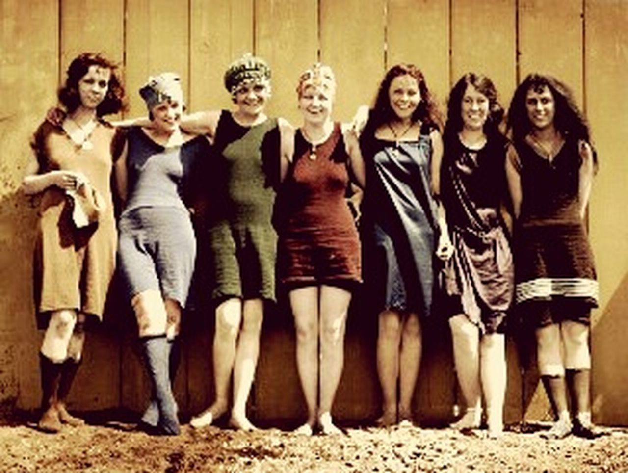 friendship, looking at camera, portrait, full length, front view, togetherness, smiling, fashion, adult, happiness, standing, people, adults only, community, cheerful, day, outdoors, only women, teamwork, young adult