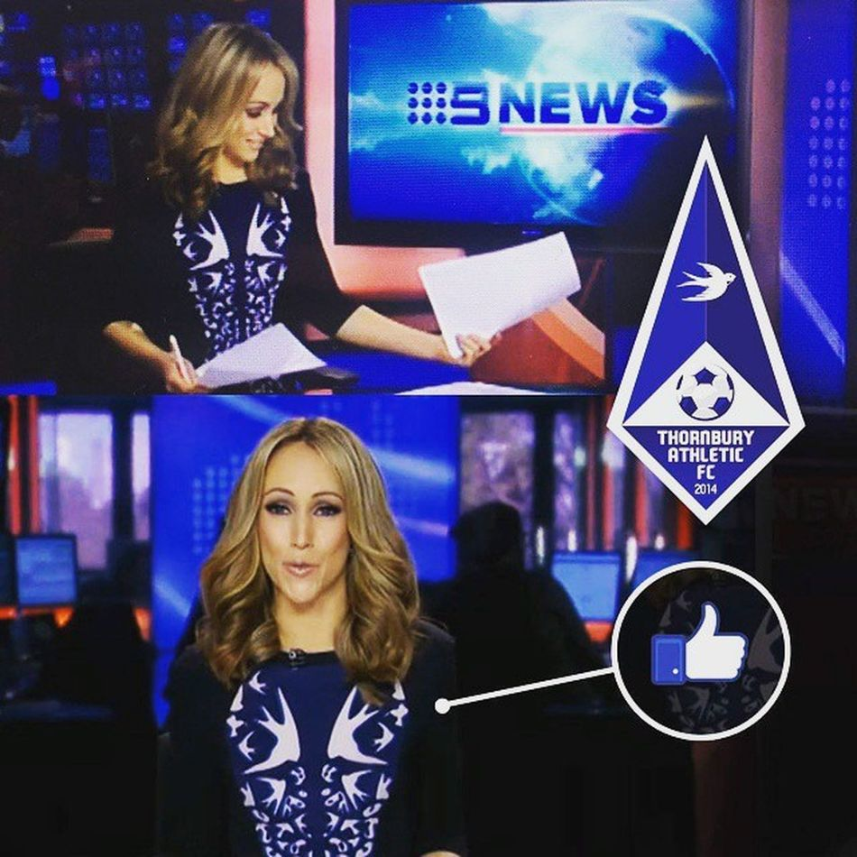 TAFC passionates are everywhere! Hats off to channel 9's Davina Smith, showing her support for the SWIFTS on this mornings news bulletin. See you on match day Davina :) Swifts OneClub  Bluearmy TAFC