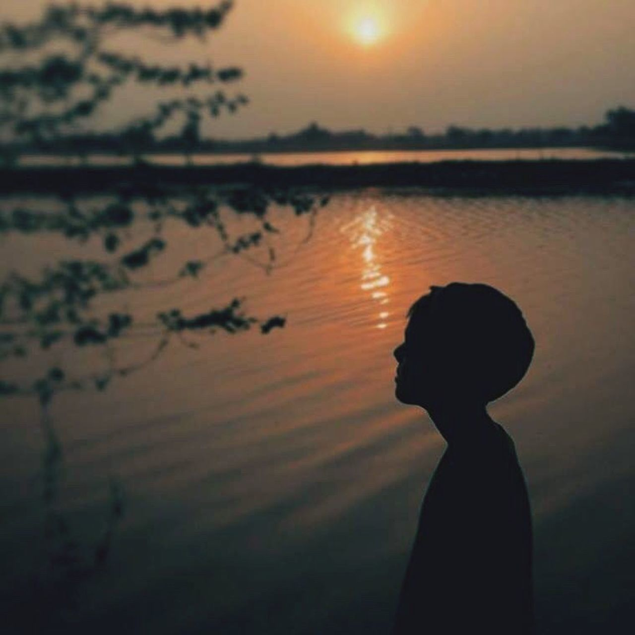 silhouette, sunset, one person, waist up, standing, nature, sun, lake, side view, water, outdoors, real people, tranquil scene, beauty in nature, scenics, sky, tranquility, lifestyles, tree, day, people