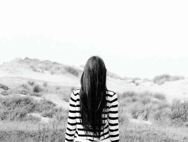 Rear View One Woman Only Only Women Adult Women Adults Only One Person Striped Young Adult Long Hair Human Hair Nature People Young Women Relaxation Sand Leisure Activity Summer Tranquility Redhead Place Of Heart Live For The Story The Portraitist - 2017 EyeEm Awards Let's Go. Together. Breathing Space