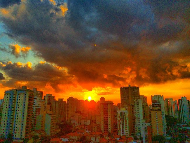 sao paulo BRAZIL 2016 Architecture Beauty In Nature Built Structure City City Life Cityscape Cityscapes Cloud Cloud - Sky Cloudy Dramatic Sky EyeEm Team Modern Nature No People Orange Color Outdoors Residential Building Residential District Scenics Sky Sun Sunset Tall - High Weather