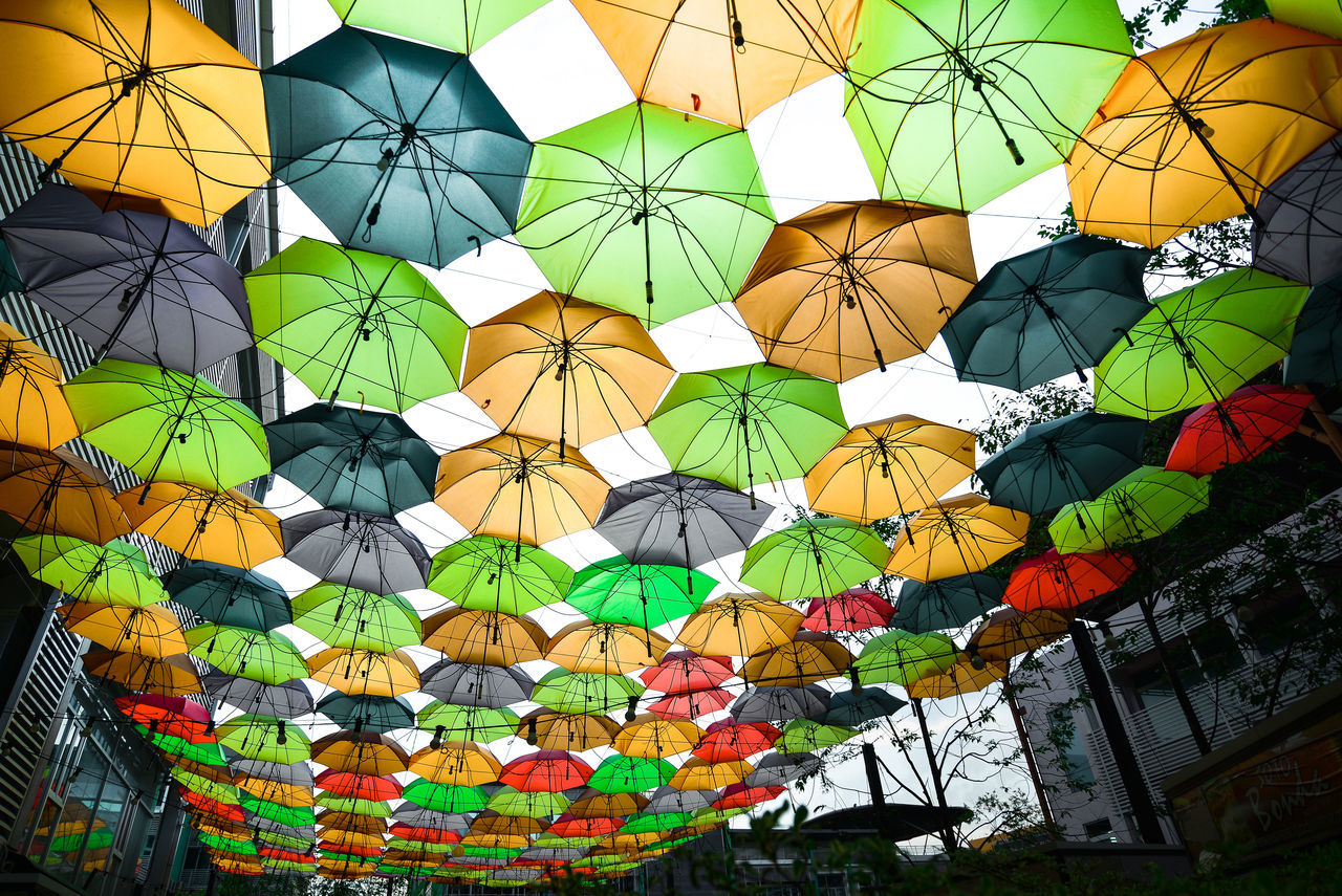 Carnival City Square Colorful Day Festival Festive Hanging Low Angle View Multi Colored No People Outdoors Street Umbrellas Variation
