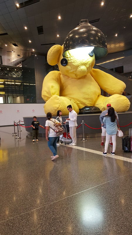 People taking pictures in front of giant teddy bear. Airport Backbag Children Duty Free Dutyfree Giant Teddy Bear Kids Kidsphotography People Qatar Airport Teddy Teddy Bear Teddy Bear 🐻 Teddy<3 Teddy_on_tour Teddybear TeddyBears First Eyeem Photo