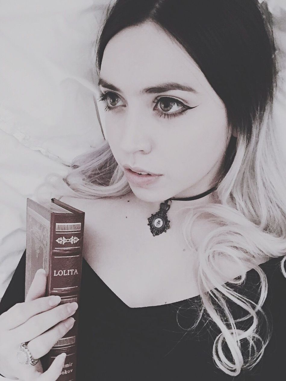 My Unique Style big eyes, chapped lips, two toned hair, handmade choker, and my favorite book~ Vladimirnabokov Me