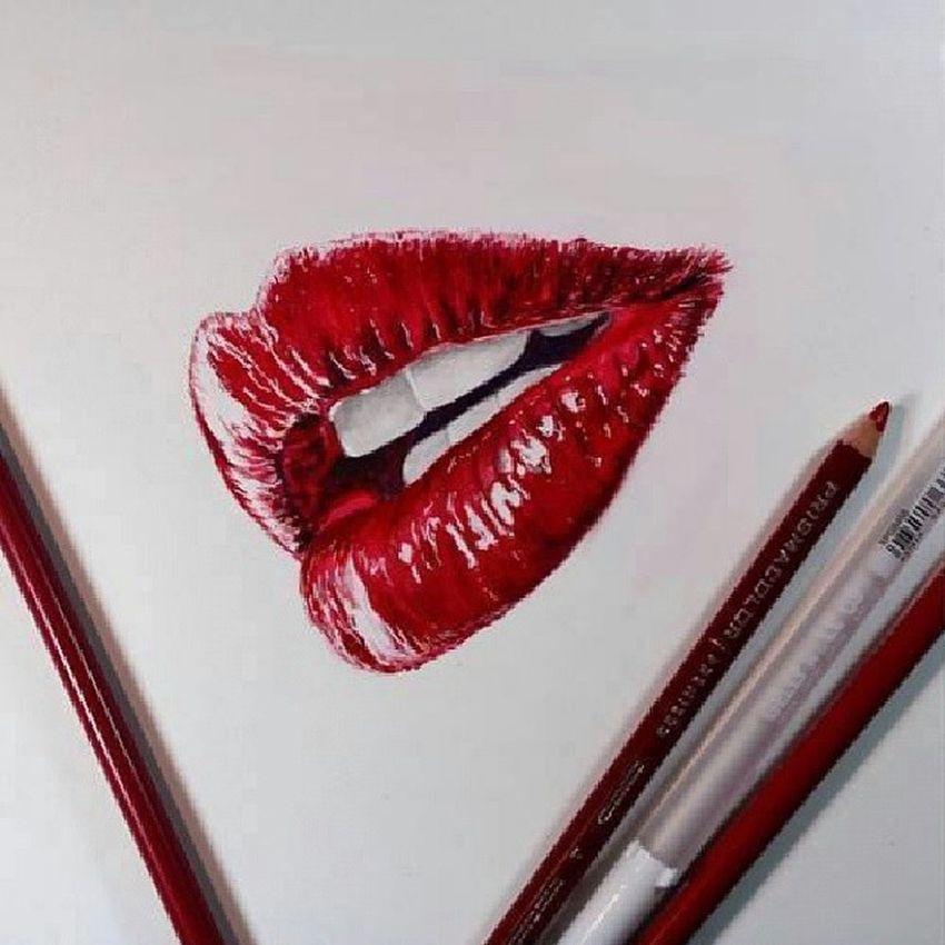 çizim Dudak Kırmızı Kalem God Red Lips