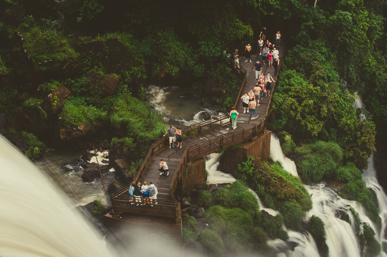 Beauty In Nature Enjoyment Flowing Water Forest Group Of People High Angle View Iguazu Jungle Misiones, Argentina Motion National Park Nature Nature Reserve Outdoors Puerto Iguazu Relax South America Tourism Travel Destinations Water Waterfall
